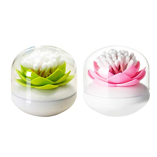 Dofover 2 Pack Creative Lotus Cotton Swab Holder Q-Tips Toothpicks Holder Table Decorate Cotton Bud Storage Box Organizer