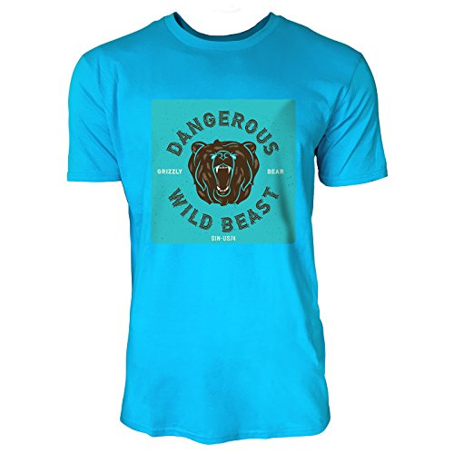 SINUS ART® Bärenkopf – Dangerous Wild Beast Herren T-Shirts in Karibik blau Cooles Fun Shirt mit tollen Aufdruck