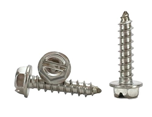 #8 X 3/4'' Stainless Steel Hex Washer Head w/Slot Sheetmetal Screw (1/2'' to 1-1/2'' in Listing) 100 pcs Sheet Metal Screws (#8x3/4 Inch) by Chenango Supply