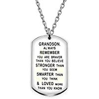 Pendant Necklace Gift For Mens Grandson Always Remember You Are Braver Stronger Smarter Than You Think