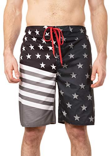 - LAGUNA Mens American Flag USA Boardshorts Swim Trunks, UPF 50+, Grey/Black/Red, M