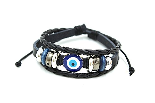 Wild Wind (TM) Abstruct Eye Braided Cord Silver Tone Plate Adjustable Leather Wrap Bracelet (Tone Silver Plate)
