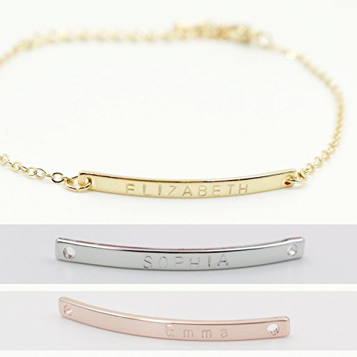 16K Gold Your Name Bar Bracelet - Dainty Personalized Gold Plated bar Delicate Initial Bridesmaid Gift Hand Stamp or machine engraving