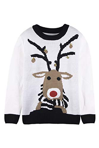Pink Queen Unisex Ugly Christmas Xmas Pullover Sweater Jumper White Reindeer XL