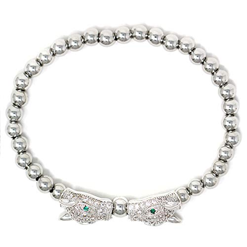 Women Teen Fashion Silver Gold Clear Rhinestone Stainless Steel Bead Ball Stretchable Elastic Bracelet