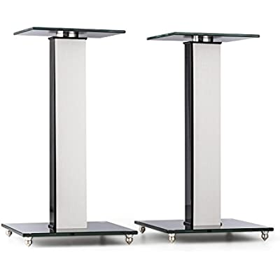 AUNA BS-03S-WHOA Speaker Stands Pair Aluminium Glass MDF Cable Duct Incl  Spikes Oak Veneer