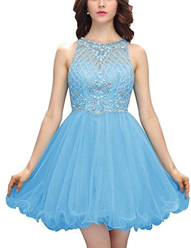 JYDress - Vestido - trapecio - para mujer azul celeste