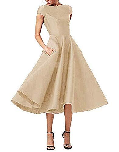 LeoGirl Women's Short Sleeves Tea-Length Mother of The Bride Dress Satin Evening Party Gown with Pockets Champagne 10