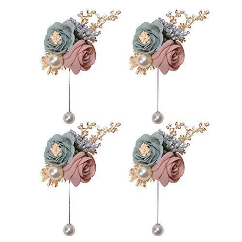 ETERNAL ANGEL Lapel Flower Pins for Men Wedding Boutonniere Pins Handmade Rose Lapel Pin for Suit 4PCS