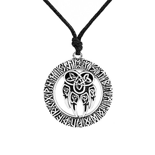 Talisman Amulet Viking Slavic God Symbol with Antique Bear Paw and Lucky Knot Pendant Necklace Jewelry (Silver)