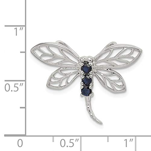 Sterling Silver Rhodium Plated Blue Sapphire Dragonfly Pendant. Gem Wt- 0.27ct