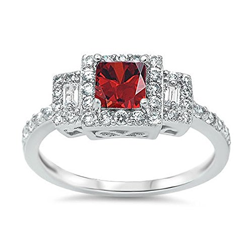Blue Apple Co. Halo Accent Wedding Ring Princess Cut Simulated Deep Red Garnet Baguette Round CZ 925 Sterling Silver
