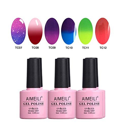AIMEILI Temperature Color Changing Soak Off UV LED Chameleon Gel Nail Polish Set Of 6pcs X 10ml- Kit Set -