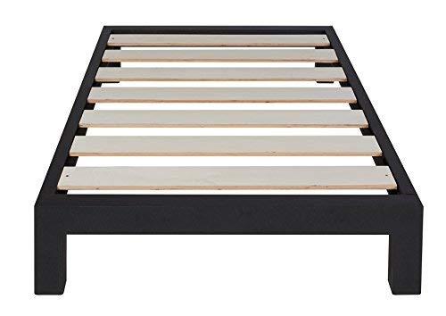 In Style Furnishings Aura Modern Metal Low Profile Thick Slats Support Platform Bed Frame – Twin Size, Black