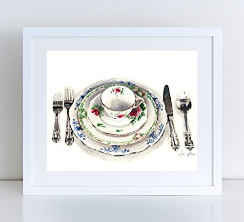 (Antique China Place Setting Vintage Pattern China Rustic Wedding Art Fine Dining Art Kitchen Art Kitchen Decor Chinoiserie Art Chinoiserie Painting Watercolor Art Canvas Art Print)
