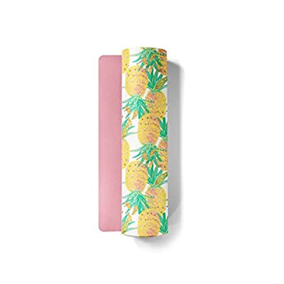 Fit Couture - Premium Custom Print Yoga Mat - Rounded Edges - Hot Pink Bottom - Non Slip - Eco Friendly PVC