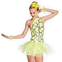 MiDee Dance Costume Dress Full Sequins Halter Neck Backless Tires Flares Skirt for Girls