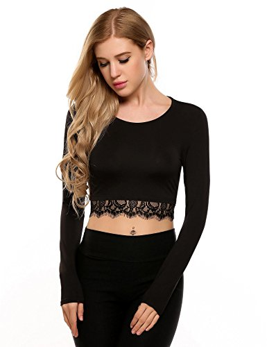 Trimmed Crop (Zeagoo Women's Fashion O-Neck Long Sleeve Patchwork Lace Trimmed Crop Tops Black X-Large)