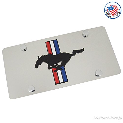 Ford Mustang Laser-Cut Retro Logo On Polished License Plate