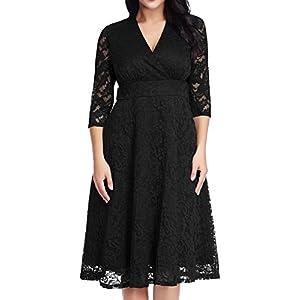e208616cbcb31 GRAPENT Women s Lace Plus Size Mother of The Bride Skater Dress Bridal  Wedding Party Black 18W