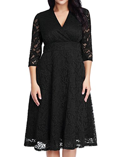 GRAPENT Women's Lace Plus Size Mother Of The Bride Skater Dress Bridal Wedding Party