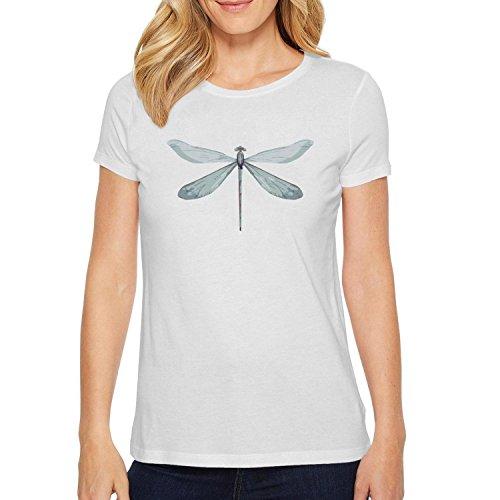Trum Namii Women's Short-Sleeve t-Shirt Watercolor Dragonfly Light Green O-Neck Tee
