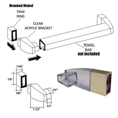 (Clear Acrylic Towel Bar Brackets with Brushed Nickel Sleeve (Towel Bar NOT Included))