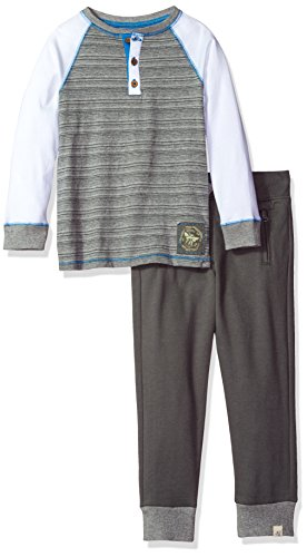 [Burt's Bees Kids Little Boys' Organic Henley Tee and French Terry Zip Pocket Pant, Heather Grey, 7] (Terry Zip Pocket Pant)