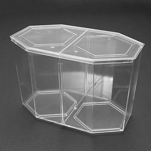1.6L Double Plastic Clear Hexagon Shaped Aquarium Betta Guppy Fish Tank Box Fish Breeding Isolation Box Aquarium Pet Supplies   White, L