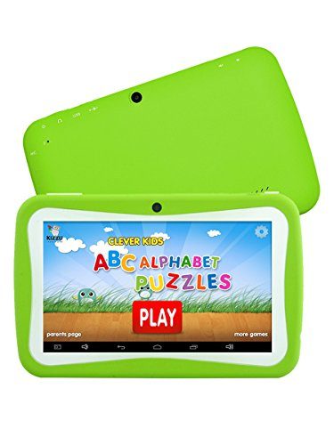 HD 7 Inch Kids Edition Tablet, Hipo Android 4.4 Kids Pad Tablet With Wifi and Dual Camera 512MB/8GB Quad Core Pre-installed Kids APPS IPS Display Touch Screen Kids-proof Silicone Case With Stand-Green