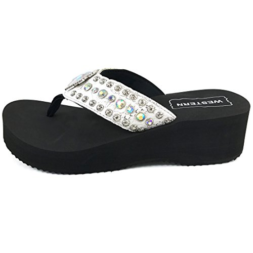 efec1855aa104 Western Peak Women s White Croc PU Leather AB Gemstone and Rhinestone Flip  Flop Sandals good
