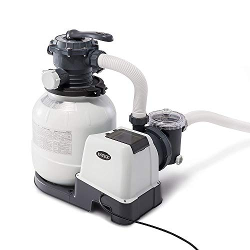 Intex 2100 GPH Above Ground Pool Sand Filter Pump w/Automatic Pool Vacuum