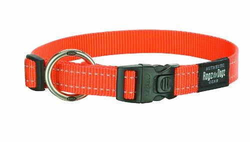 Rogz Utility Large 3/4-Inch Reflective Fanbelt Dog Collar, Orange, My Pet Supplies