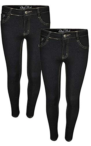 Real Love Girls Skinny Jeans (2 Pack) (Black & Black, 14)'