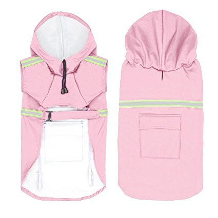 JYHY Dog Raincoat Adjustable Reflective Waterproof Lightweight Dog Rain Jacket with Hood for Small Medium Large Dogs,Pink 5XL by JYHY (Image #2)