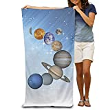 Qinf Solar System Planets Adult Beach Towels Fast/Quick Dry Machine Washable Lightweight Absorbent Plush Multipurpose Use for Swim,Beach,Camping,Yoga