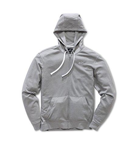Cap Hooded Cotton - Alpinestars Men's Full Zip Hooded Sweatshirt Modern Fit 200 GSM Logo Fleece, Bona Fide Grey, S