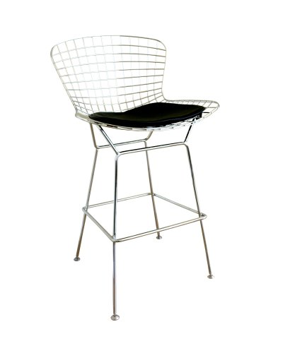 Bertoia Bar Stool Seat Pad (Baxton Studio Taddeo Mesh Bar Stool with Leatherette Seat Pad)
