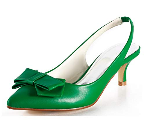 Minishion Womens Summer Sandals Kitten Heel Green Leather Slingback Sandals Dress Party Shoes US 9.5