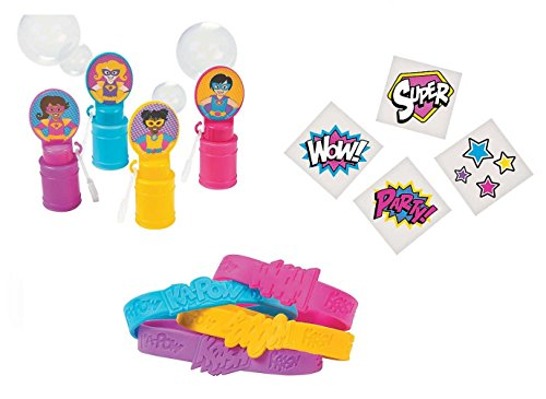 Superhero Girl Party Favors Wristbands Bubbles and Tattoos - (60Pieces) -