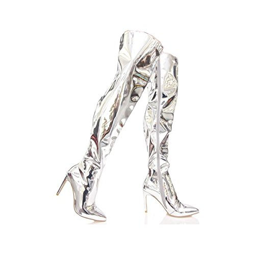ff2d83b5b8db5 CR Mini-80 Baggy Pointy Toe Stiletto Heel Thigh Over Knee Metallic ...