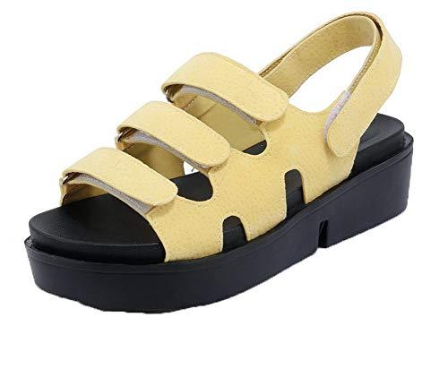 Sandales Talon Dépolissement à Correct Couleur Femme Velcro Jaune AgooLar Unie wBxq8ap6