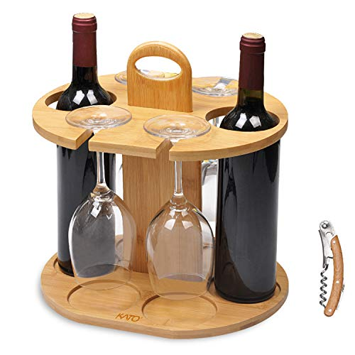 Wine Bottle Holder Glass Cup Rack w/Handle Free Wood Handle Corkscrew - Wine Organizer Bamboo Stand Countertop Tabletop Display 2 Bottle Wine Holder