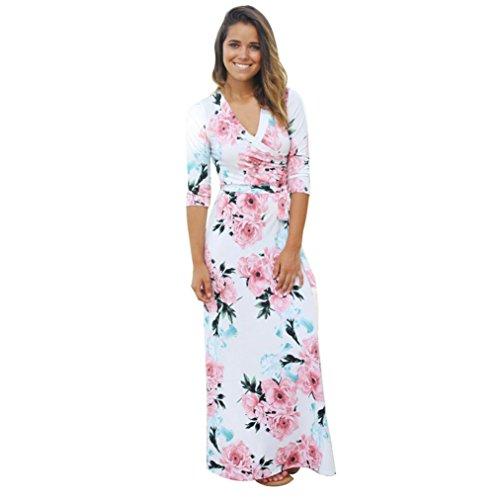 WINWINTOM Moda Mujeres NiñAs OtoñO Vestido De Manga Larga Con Estampado Floral V-Cuello Largo Vestido Maxi Vestido Suelto Con Cinturón