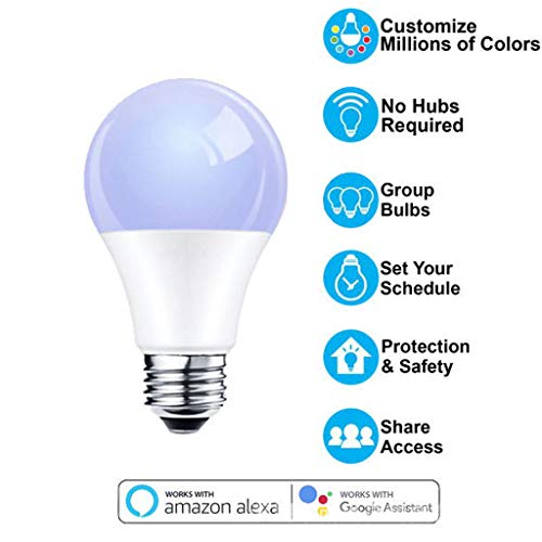 WiFi Smart Bulb, Work with Alexa Echo Dot Google Home APP Remote Control LED RGB Light Timer Function