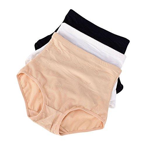 Womens High Waist Briefs Underwear Abdomen Hip Corset Briefs 3 Pack
