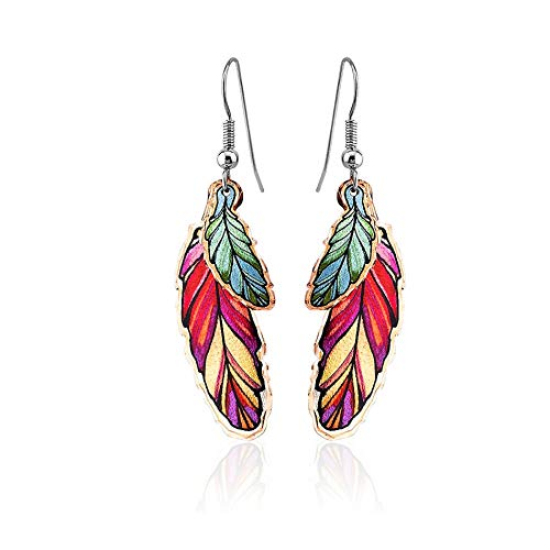 Red/Blue Native American Feather Earrings for Women, Girls, Feather Jewelry -Copper Feather Drop Earrings Handmade, in Western & Native Design, Designed by Lynn Bean (Triple Color)