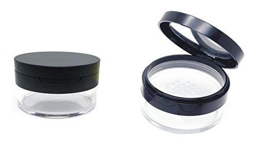 20ml 0.67oz Empty Refillable Portable DIY Make up Loose Powder Container Case with Sponge Powder Puff Mirror and Sifter Foundation Cosmetic Box (Black)