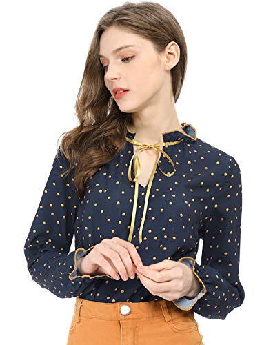 Allegra K Women's Tie Ruffled Neckline Polka Dots Vintage Blouse Bell Long Sleeves Tops Dark Blue M (US - Long Trumpet Sleeve