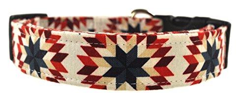Navy and Red Americana Stars Geometric Dog Collar
